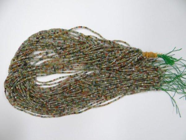 画像2: ミックスカラーアゲート(グリーン系)極小 2ミリ丸玉 40cm/連