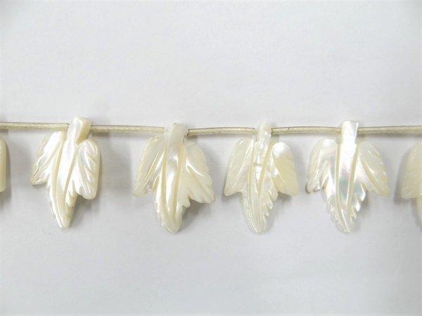 画像1: マザーオブパール リーフ 葉っぱ カービング 粒売り