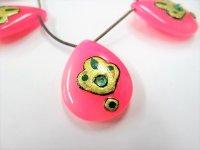 ピンクカルセドニー(染)ペアシェイプ インド装飾 大粒